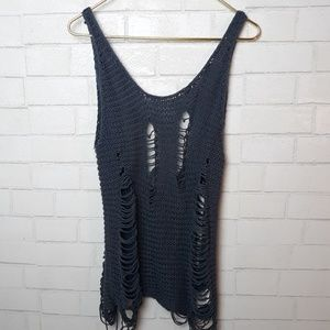 Urban Outfitters Ecote Netted Distressed Tank Top